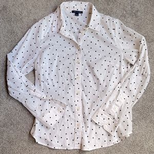 Tommy Hilfiger White Blouse with Black Polka Dots